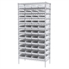 Akro-Mils Wire Shelving Kit, 18x36x74, 48 Bins, Chrome/White