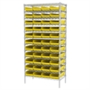 Akro-Mils Wire Shelving Kit, 18x36x74, 48 Bins, Chrome/Yellow