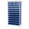 Akro-Mils Wire Shelving Kit, 18x36x74, 36 Bins, Chrome/Blue