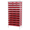 Wire Shelving Kit, 18x36x74, 36 Bins, Chrome/Red