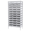 Wire Shelving Kit, 18x36x74, 36 Bins, Chrome/White