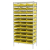 Akro-Mils Wire Shelving Kit, 18x36x74, 36 Bins, Chrome/Yellow