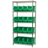 Akro-Mils Wire Shelving Kit, 18x36x74, 18 Bins, Chrome/Green