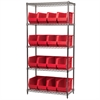 Akro-Mils Wire Shelving Kit, 18x36x74, 18 Bins, Chrome/Red