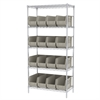 Akro-Mils Wire Shelving Kit, 18x36x74, 18 Bins, Chrome/Stone