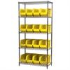 Wire Shelving Kit, 18x36x74, 18 Bins, Chrome/Yellow