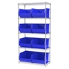 Wire Shelving Kit, 18x36x74, 9 Bins, Chrome/Blue