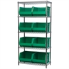 Akro-Mils Wire Shelving Kit, 18x36x74, 9 Bins, Chrome/Green