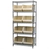 Akro-Mils Wire Shelving Kit, 18x36x74, 9 Bins, Chrome/Stone