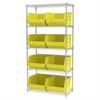 Akro-Mils Wire Shelving Kit, 18x36x74, 9 Bins, Chrome/Yellow
