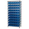 Akro-Mils Wire Shelving Kit, 18x36x74, 10 Bins, Chrome/Blue