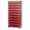Wire Shelving Kit, 18x36x74, 10 Bins, Chrome/Red