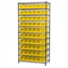 Akro-Mils Wire Shelving Kit, 18x36x74, 10 Bins, Chrome/Yellow