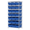 Wire Shelving Kit, 18x36x74, 24 Bin, Chrome/Blue