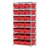 Wire Shelving Kit, 18x36x74, 24 Bin, Chrome/Red