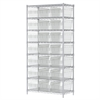 Wire Shelving Kit, 18x36x74, 24 Bin, Chrome/Clear