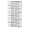 Akro-Mils Wire Shelving Kit, 18x36x74, 24 Bin, Chrome/Clear