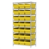 Wire Shelving Kit, 18x36x74, 24 Bin, Chrome/Yellow