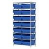Akro-Mils Wire Shelving Kit, 18x36x74, 16 Bin, Chrome/Blue