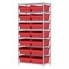 Wire Shelving Kit, 18x36x74, 16 Bin, Chrome/Red