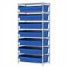 Akro-Mils Wire Shelving Kit, 18x36x74, 8 Bin, Chrome/Blue