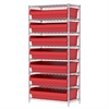Wire Shelving Kit, 18x36x74, 8 Bin, Chrome/Red