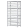 Akro-Mils Wire Shelving Kit, 18x36x74, 8 Bin, Chrome/Clear