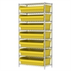 Akro-Mils Wire Shelving Kit, 18x36x74, 8 Bin, Chrome/Yellow