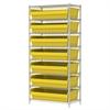 Wire Shelving Kit, 18x36x74, 8 Bin, Chrome/Yellow