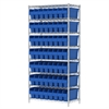 Akro-Mils Wire Shelving Kit, 18x36x74, 56 Bin, Chrome/Blue