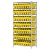 Akro-Mils Wire Shelving Kit, 18x36x74, 56 Bin, Chrome/Yellow
