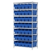 Akro-Mils Wire Shelving Kit, 18x36x74, 40 Bin, Chrome/Blue