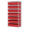 Wire Shelving Kit, 18x36x74, 40 Bin, Chrome/Red
