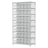 Akro-Mils Wire Shelving Kit, 18x36x74, 40 Bin, Chrome/Clear