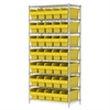 Akro-Mils Wire Shelving Kit, 18x36x74, 40 Bin, Chrome/Yellow