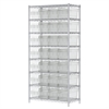 Wire Shelving Kit, 18x36x74, 32 Bin, Chrome/Clear