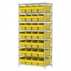 Akro-Mils Wire Shelving Kit, 18x36x74, 32 Bin, Chrome/Yellow