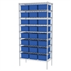 Wire Shelving, 18x36x74, 24 Grid Boxes, Chrome/Blue