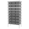 Akro-Mils Wire Shelving, 18x36x74, 24 Grid Boxes, Chrome/Gray