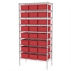 Akro-Mils Wire Shelving, 18x36x74, 24 Grid Boxes, Chrome/Red