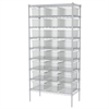 Akro-Mils Wire Shelving, 18x36x74, 24 Grid Boxes, Chrome/Clear