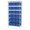 Wire Shelving, 18x36x74, 18 Grid Boxes, Chrome/Blue