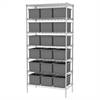 Wire Shelving, 18x36x74, 18 Grid Boxes, Chrome/Gray