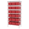 Wire Shelving, 18x36x74, 18 Grid Boxes, Chrome/Red