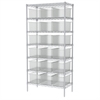 Akro-Mils Wire Shelving, 18x36x74, 18 Grid Boxes, Chrome/Clear