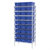 Wire Shelving Kit, 18x36x74, 30 Totes, Chrome/Blue