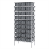Wire Shelving Kit, 18x36x74, 30 Totes, Chrome/Gray