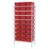 Wire Shelving Kit, 18x36x74, 30 Totes, Chrome/Red