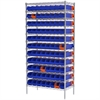 Akro-Mils Wire Shelving Kit, 18x36x74, 96 Bins, Blue/Orange