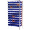 Wire Shelving Kit, 18x36x74, 60 Bins, Blue/Orange
